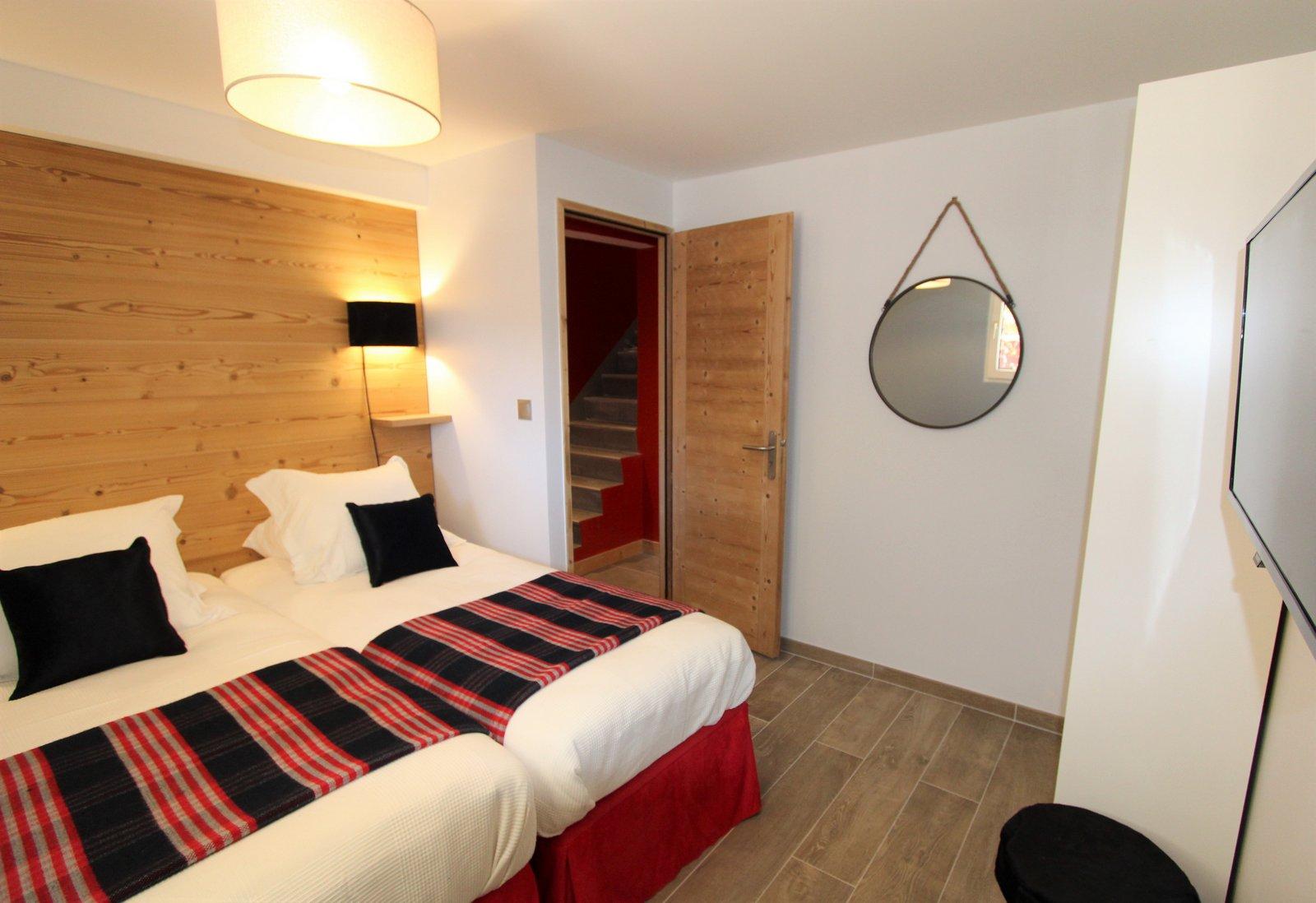 décoration bois peau confort lits chambre télévision ski chaud