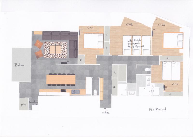 plan grand appartement 12 personnes ski surf vacances chambres dortoir