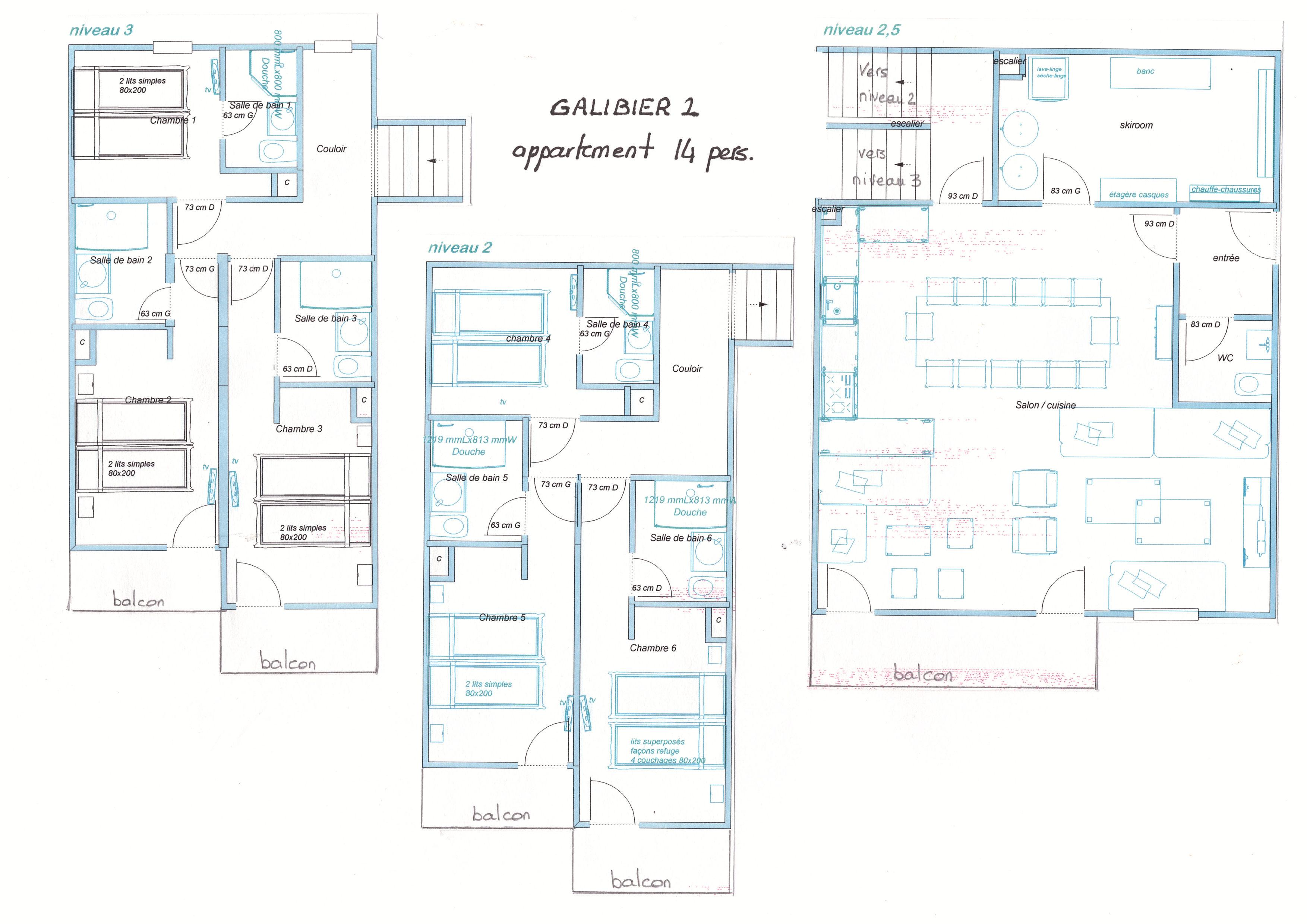 plan appartement ski 14 personnes chambre avec salle de bain skiroom ski hiver été vtt randonnée 2 alpes 1800