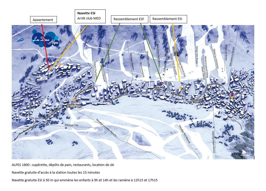 ski plan 2 alpes 1600-3200 isère neige garantie station de ski glacier esf les 2 alpes